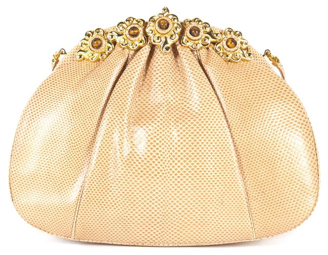 JUDITH LEIBER Beige Lizard Skin Jewel Embellished Convertible Clutch