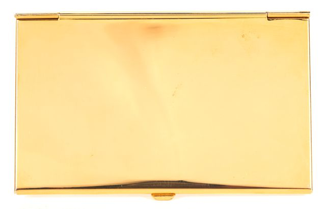 JUDITH LEIBER Gold Blue Red Bedazzled Floral Sultry Business Card Case