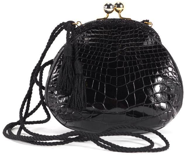 JUDITH LEIBER Black Crocodile Embossed Crystal Embellished Small Shoulder Bag