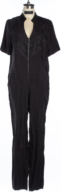 JAY GODFREY Black Lace Embroidered Detail Jumpsuit
