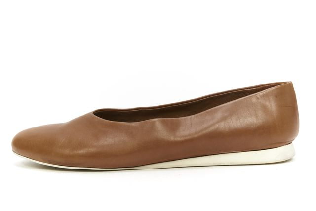 JIL SANDER Brown Leather Casual Slip-on Round Toe Ballet Flats