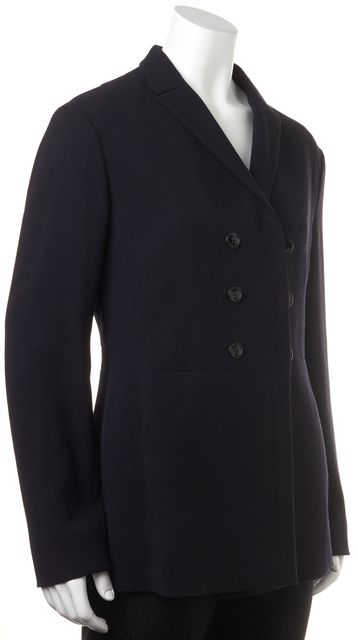 JIL SANDER Navy Blue Wool Double Breasted Basic Jacket