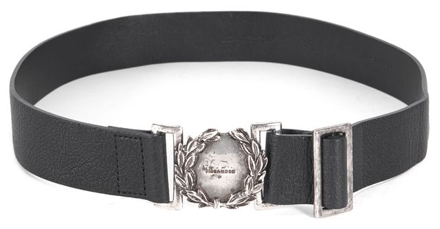 JIL SANDER Black Leather Silver Hardware Belt