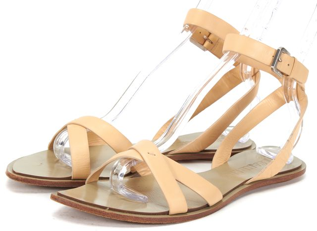 JIL SANDER Beige Leather Criss Cross Ankle Strap Casual Flat Sandals