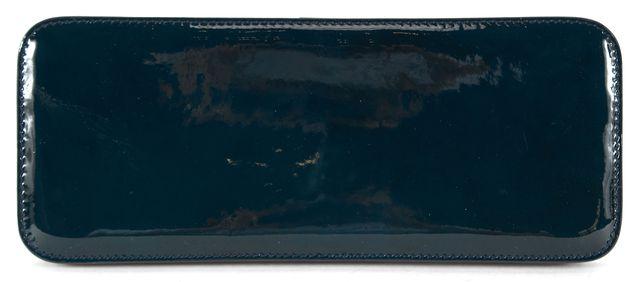 JIL SANDER Dark Green Patent Leather Rectangular Slim Clutch