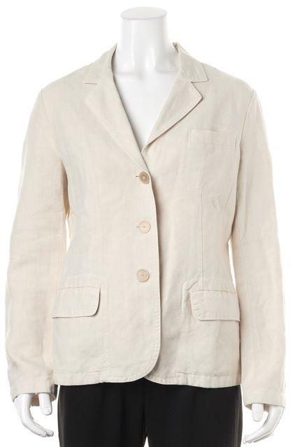 JIL SANDER Ivory Linen Pocket Front Blazer