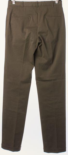 JIL SANDER Brown Cuffed Slim Leg Trousers Pants