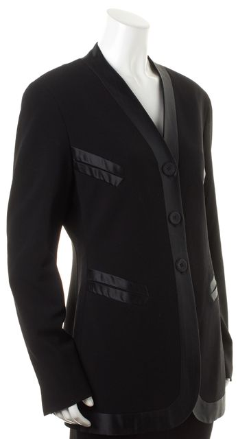 JIL SANDER Black Wool Satin Trim Collarless Long Blazer