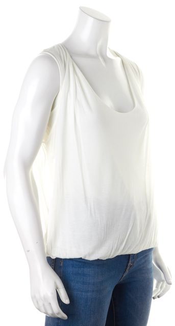JIL SANDER White Jersey Elastic Waist Scoop Neck Tank Top