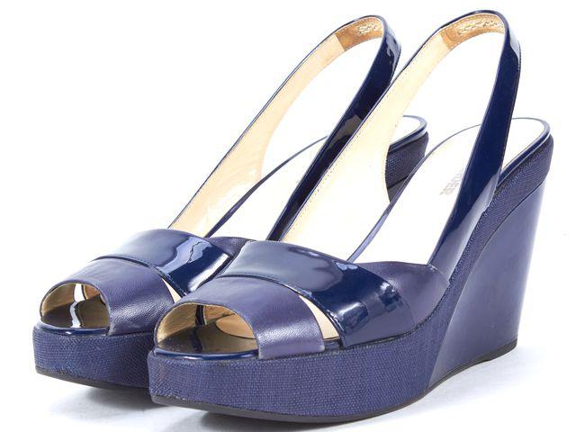 JIL SANDER Blue Patent Leather Canvas Trim Slingback Sandal Wedges