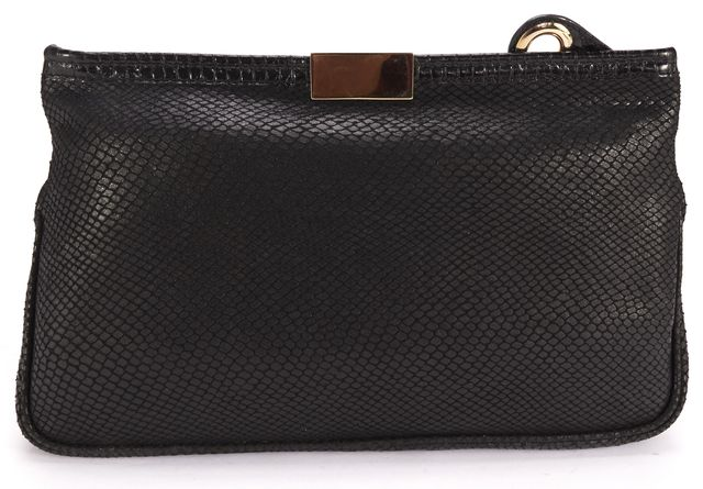 JIMMY CHOO Black Embossed Leather Gold Zip Top Clutch