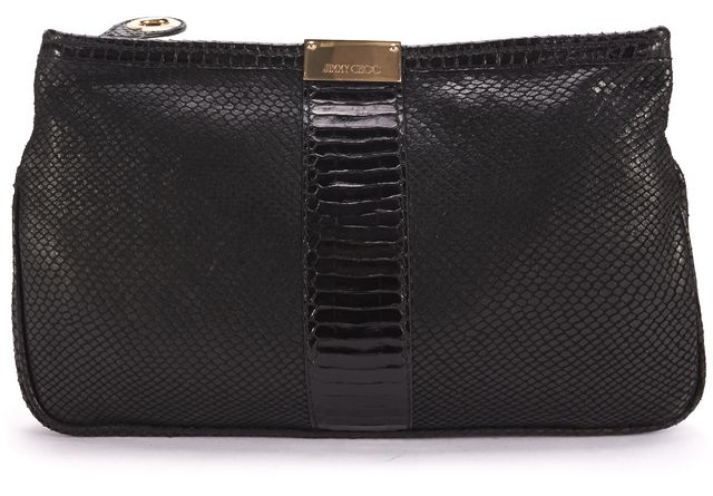 JIMMY CHOO Authentic Black Embossed Leather Gold Zip Top Clutch