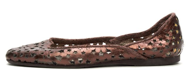 JIMMY CHOO Brown Bronze Metallic Leather Abstract Laser Cut Out Flats