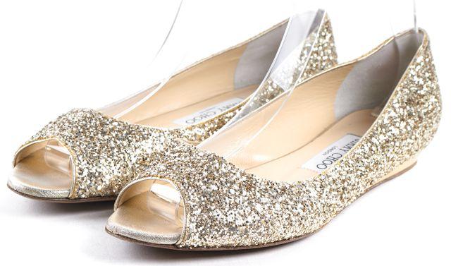 JIMMY CHOO Gold Glitter Leather Open Toe Flats