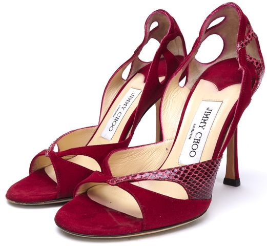 JIMMY CHOO Red Suede Red Python Trim Open Toe Heels Size 36.5