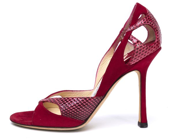 JIMMY CHOO Red Suede Red Python Trim Open Toe Heels