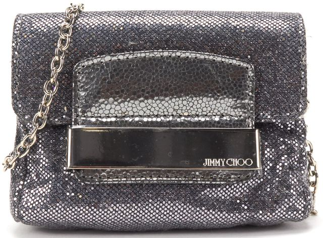 JIMMY CHOO Silver Metallic Fabric Chain Strap Mini Crossbody Bag