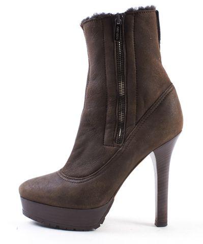 JIMMY CHOO Brown Sherling Fur Platform Ankle Boots