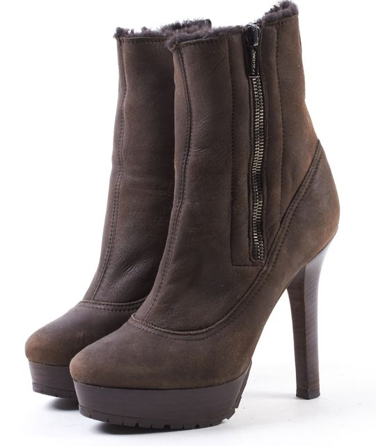 JIMMY CHOO Brown Sherling Fur Platform Ankle Boots