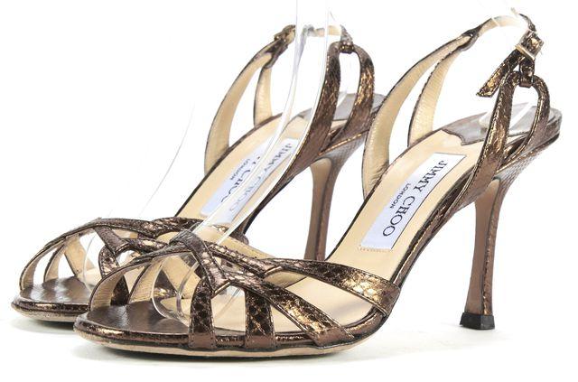 JIMMY CHOO Bronze Metallic Leather Snakeskin Heels Size 37.5 w/ Box