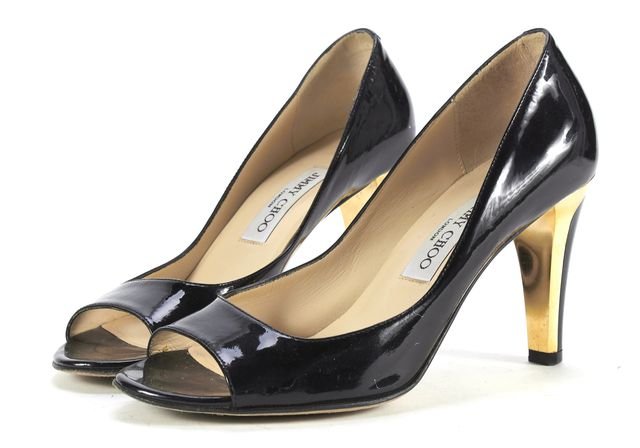 JIMMY CHOO Black Gold Patent Leather Heel Pumps Size 38