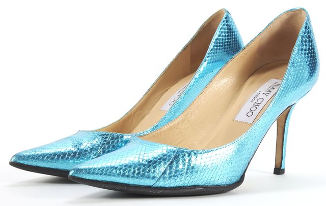 JIMMY CHOO Metallic Blue Pointed Pump Heels Size 36.5