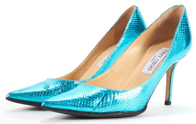 JIMMY CHOO Metallic Blue Pointed Pump Heels