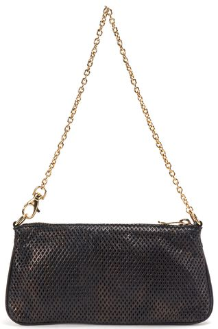 JIMMY CHOO Authentic Black Leather Laser Cut Small Chain Strap Shoulder Bag