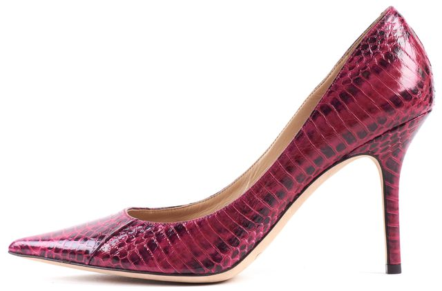 JIMMY CHOO Pink Snakeskin Pointed Toe Pumps Size 38.5