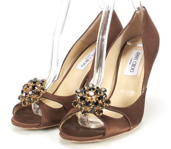JIMMY CHOO Brown Satin Open-toe Embellished Heels Size 38.5