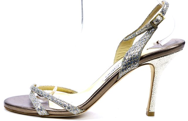 JIMMY CHOO Silver Embellished Leather Strappy Slingback Stiletto Heels