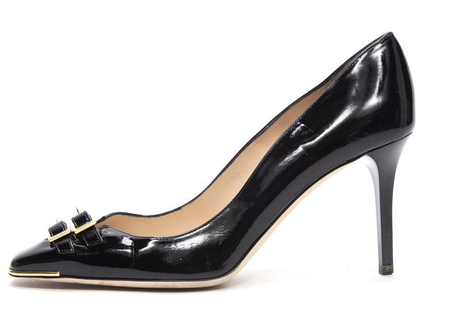 JIMMY CHOO Black Patent Leather Buckle Detail Square Toe Pumps