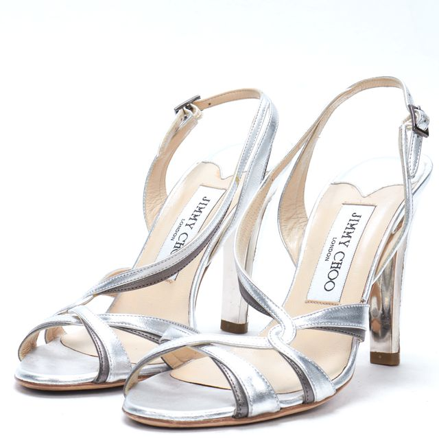 JIMMY CHOO Silver Leather Strappy Sling Back Heel Dress Sandals
