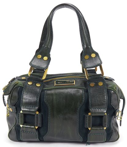 JIMMY CHOO Authentic Green Leather Gold Tone Hardware Small Top Handle Bag
