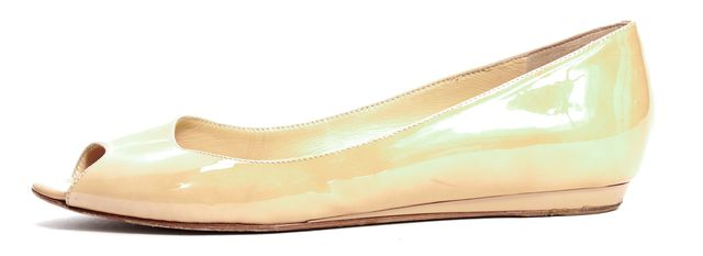 JIMMY CHOO Beige Patent Leather Peep Toe Flats