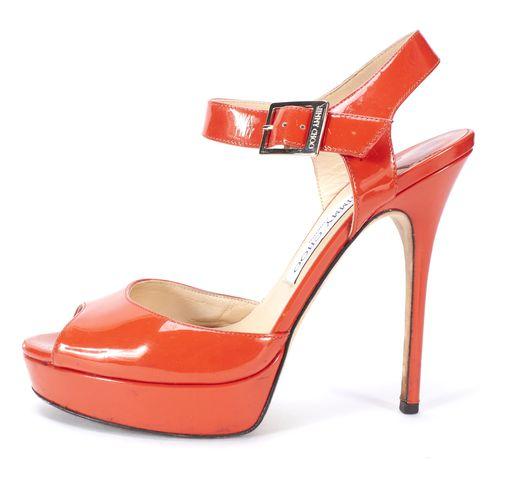 JIMMY CHOO Orange Patent Leather Ankle Strap Open Toe Heels Size 39