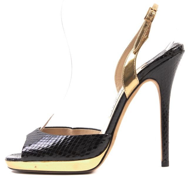 JIMMY CHOO Black Snake Embossed Leather Gold Trim Slingback Heels