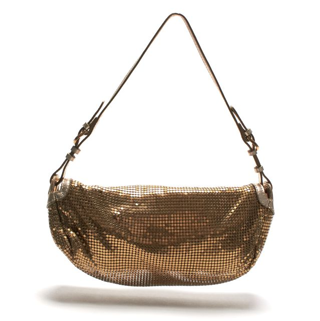 JIMMY CHOO Gold Metal Mesh Leather Small Shoulder Bag