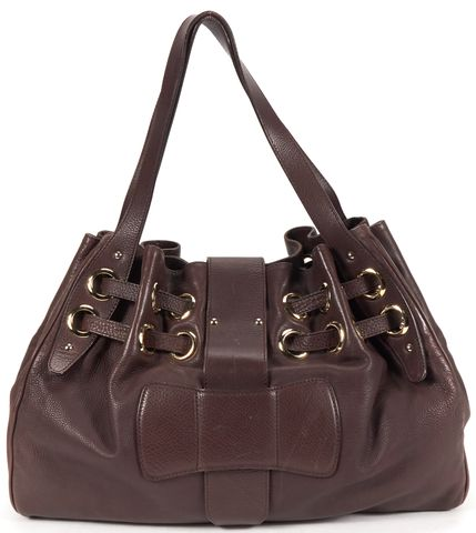 JIMMY CHOO Chocolate Brown Gold Leather Shoulder Bag