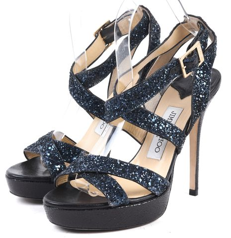 JIMMY CHOO Navy Black Glitter Open-Toe Criss-Cross Ankle Strap Heels