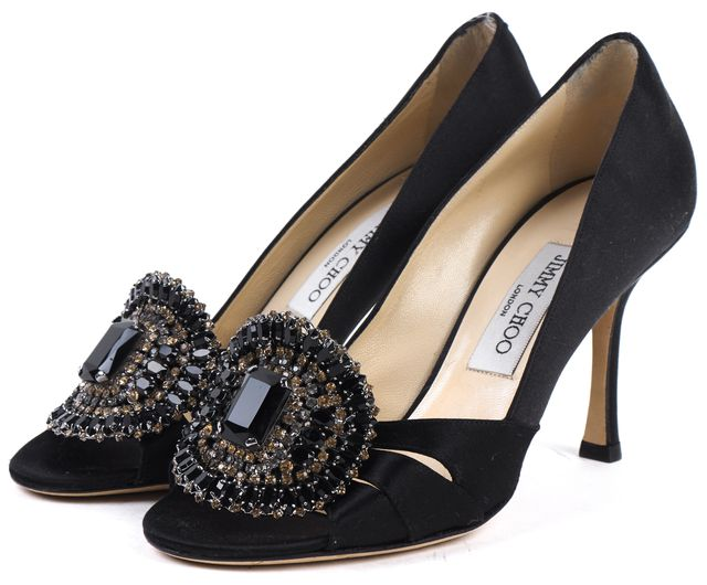 JIMMY CHOO Black Satin Crystal Embellished Opened Toe Heels
