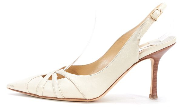 JIMMY CHOO Ivory Leather Slingback