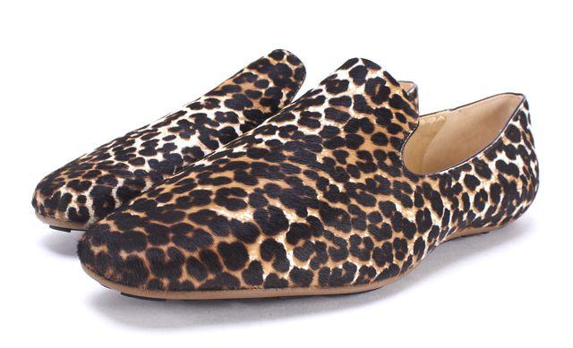 JIMMY CHOO Leopard Print Pony Hair Loafers
