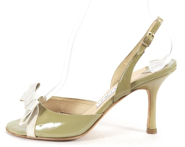 JIMMY CHOO Green Patent Leather Open Toe Slingback Heels