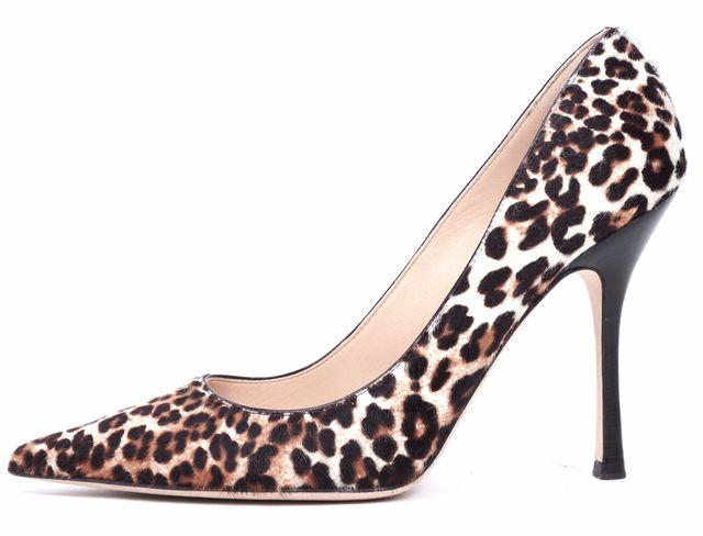 JIMMY CHOO Leopard Calf Hair Leather Pointed Toe
