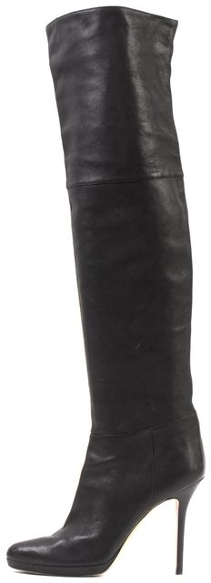 JIMMY CHOO Black Leather Over The Knee Stiletto Boots