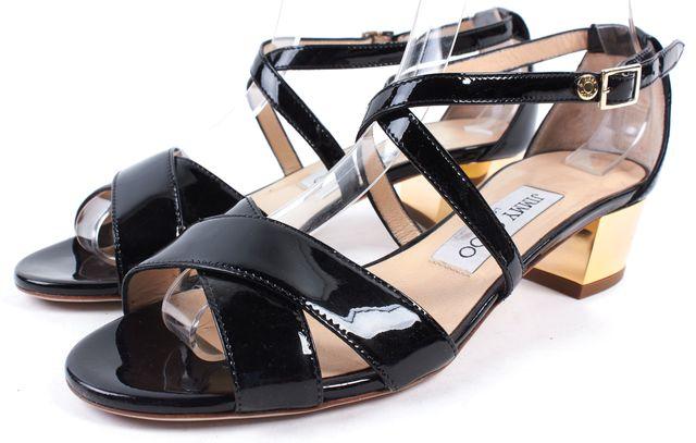 JIMMY CHOO &695 Black Gold Patent Leather Criss Cross Low Heel Sandals