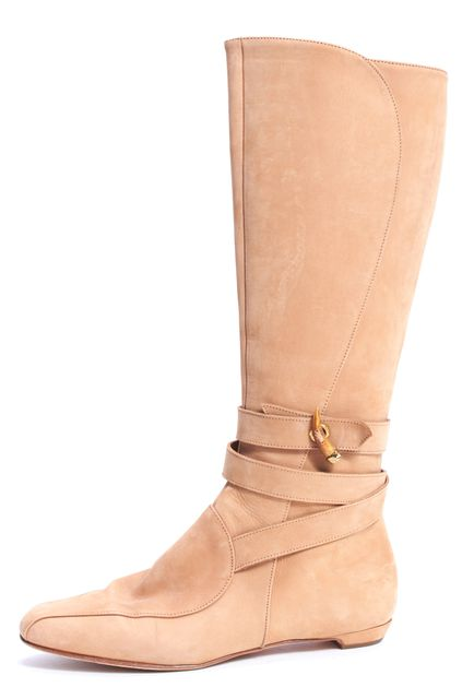 JIMMY CHOO Camel Beige Suede Ankle Strap Knee-high BootS