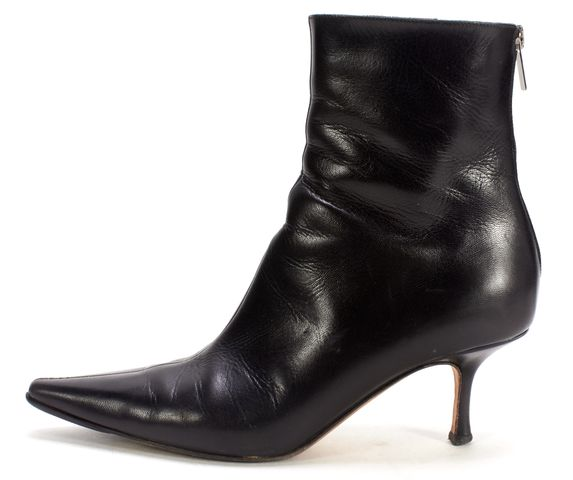 JIMMY CHOO Black Leather Pointed Toe Ankle Boots