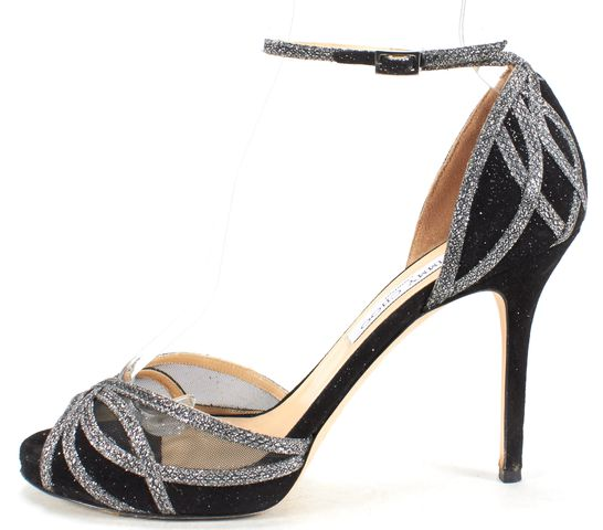 JIMMY CHOO Black Suede Embellished Ankle Strap